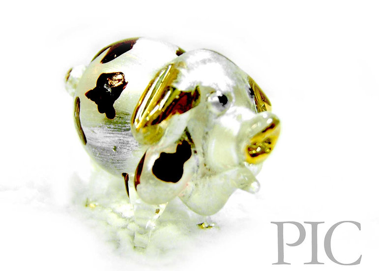 White Pearl with brown Pig Glass Figurine
