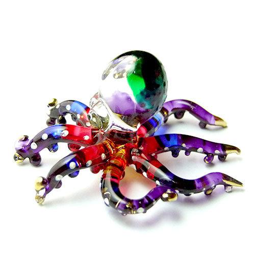 Purple Octopus Glass Figurine