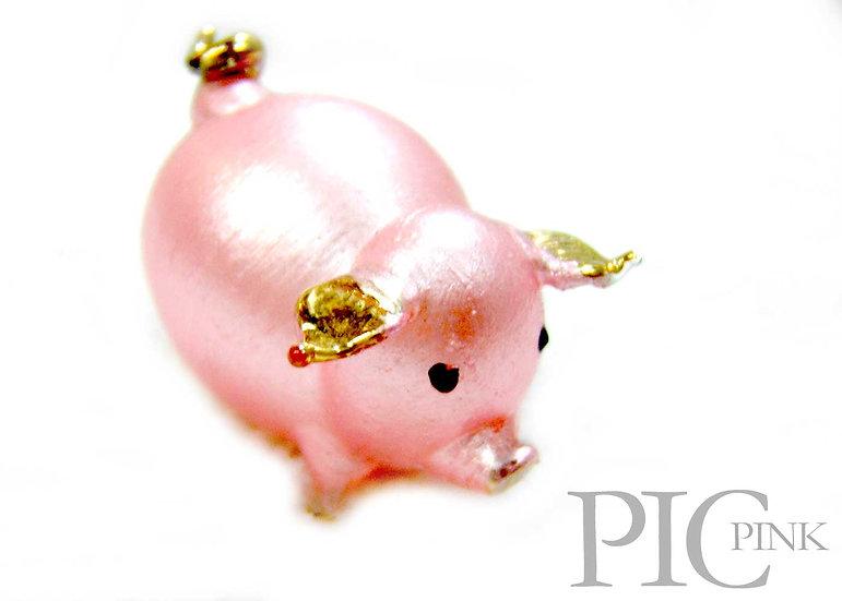 Pink Little Pig Glass Figurine