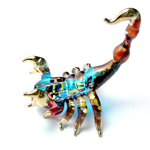 Blue and Brown Scorpion Glass Figurine