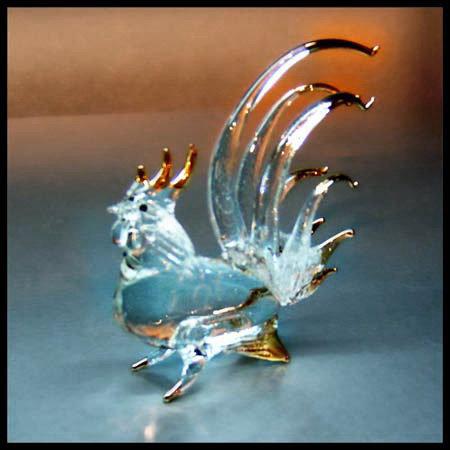 Rooster Clear Glass Figurine with 22 k gold