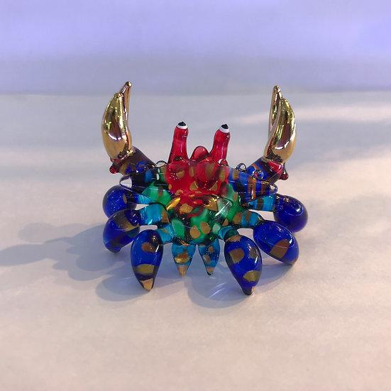 Blue Crab Glass Figurine