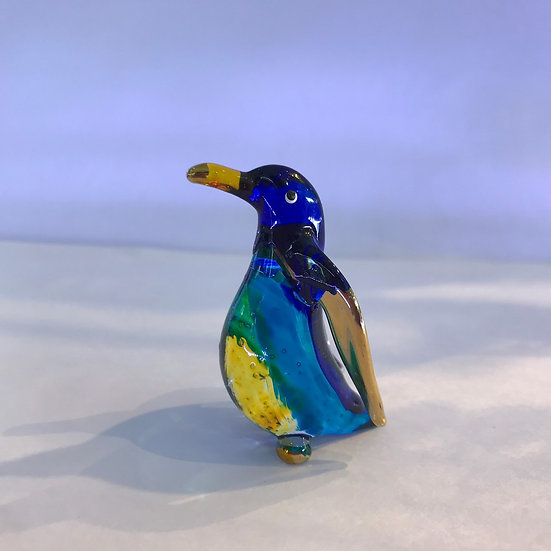 Penguin Blue yellow color glass figurine