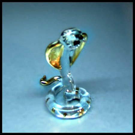 Snake Clear Glass Figurine Zodiac with 22 k gold