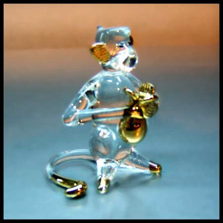 Monkey Clear Glass Figurine with 22 gold