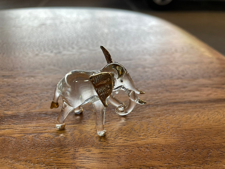 Trunk Down Elephant Clear Glass with 22 KGold