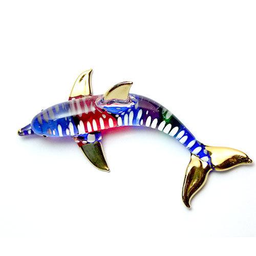 Multi Color Dolphin Glass Figurine
