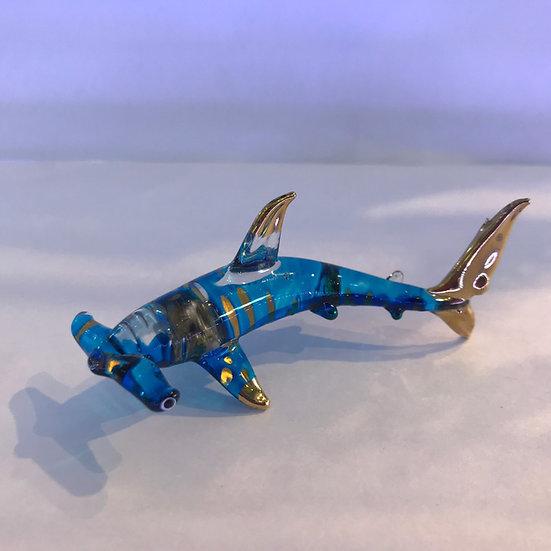 Hammer Head Shark Blue Color Glass Figurine