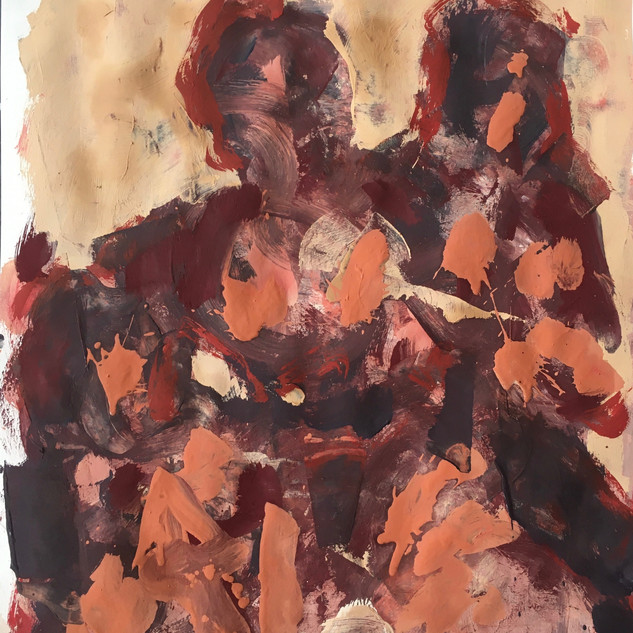 Daughters of Man, 00012019, acrylics/pigments on paper, 41x28 inches, 2019