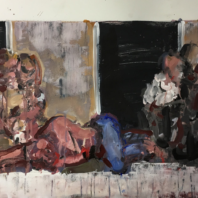Study for 'Requiem for a friend' acrylics/pigments on paper, 20x39 inches, 2017/18