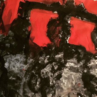 black,white and red #2, 27x39 inches, 2019-acrylics/pigments on paper