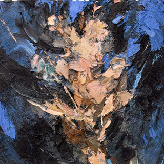 Embrace (tryptich-center) oil/cotton 79x42 inches, 1995
