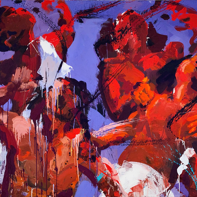 Saint Vitus Dance (the return of the flagellants) 51x63 inches, acrylics and pigment on cotton, 2020