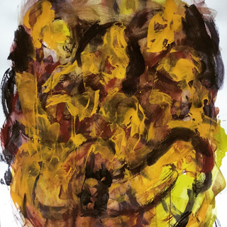 Daughters of Man, 00042019, acrylics/pigments on paper, 41x28 inches, 2019