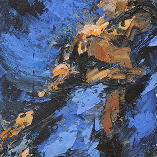 Embrace (tryptich-right) oil/cotton 76x39 inches, 1995