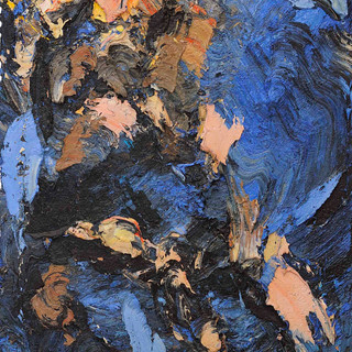 Embrace (tryptich-left) oil/cotton 76x39 inches, 1995