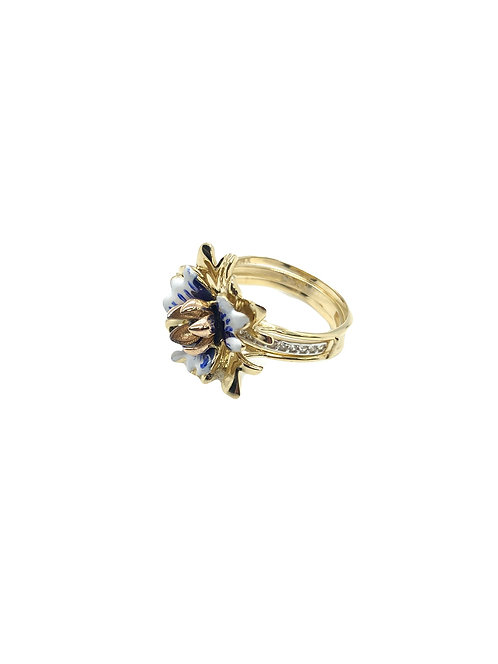 14k 2 Part Blue Flower Ring