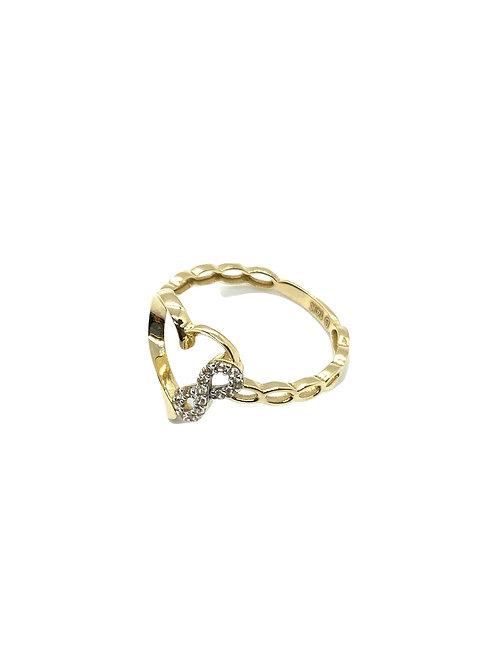 14k Gold Heart Infinity Ring