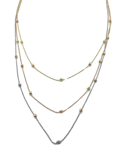 Tri Color Stacked Necklace
