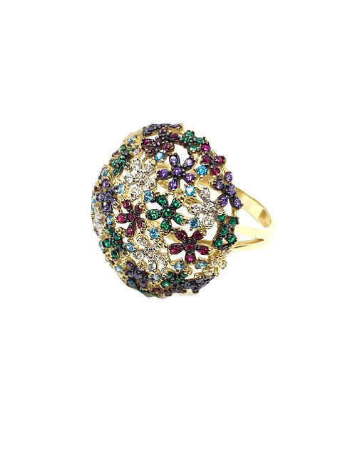 14k Floral Multicolor Round Ring