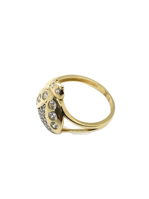 Gold Lady Bug Ring