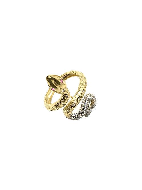 14k Gold White Tail Snake Ring