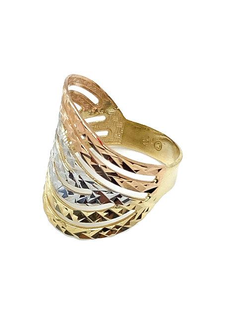Tri Color Wave Ring