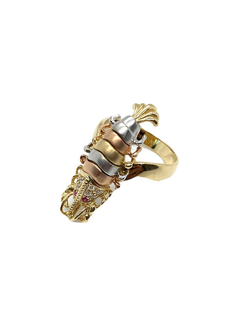 Tri Color Scorpion Ring