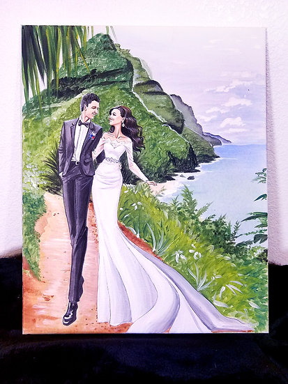 Wedding Painting for Gift or Invitations