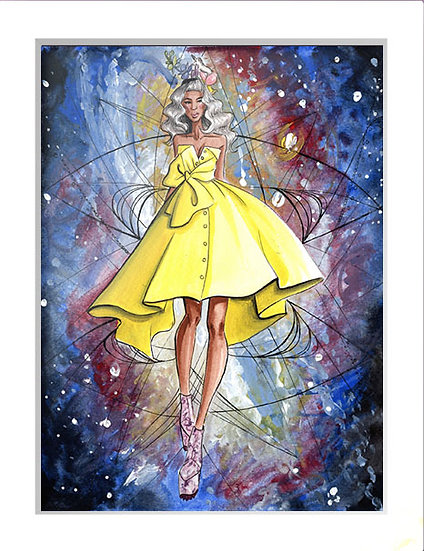 Galaxy Fashion Illustration 9x12 Painting with Frame