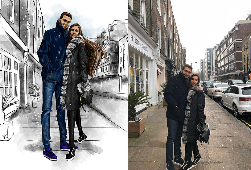 Digital Drawing of Couple for Anniversary, Wedding Gift, Birthday, or Holidays