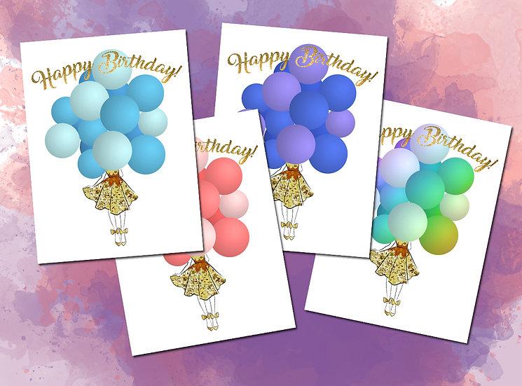 Balloons Birthday Card Fashion Illustraton Print