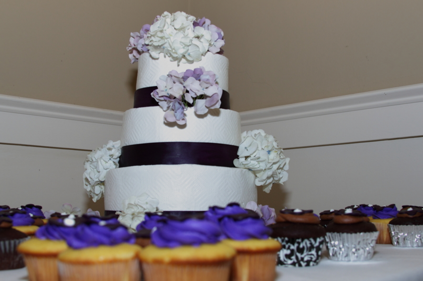 wedding cake and cupcaks
