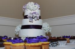 wedding cake and cupcaks