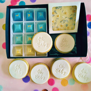 Gift Box - Oh Baby White Cookies Blue Ch