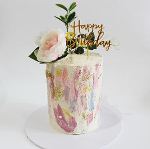 Buttercream Birthday Cake - Pink Burgund