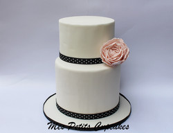 Elegant 2 tier Wedding Cake with Peony Flower