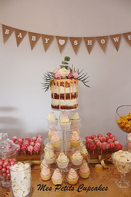 Baby Shower Cake - Naked Cake with Cupca