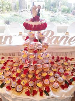 Wedding Cupcake Tower Pink Gold Purp