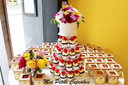 Wedding Cupcake Tower with Red Roses and Bonbonnieres