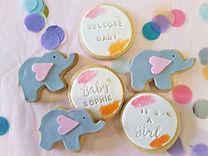 Cookies Baby Elephant Pink Custom Name C