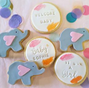 Cookies Baby Elephant Pink Custom Name