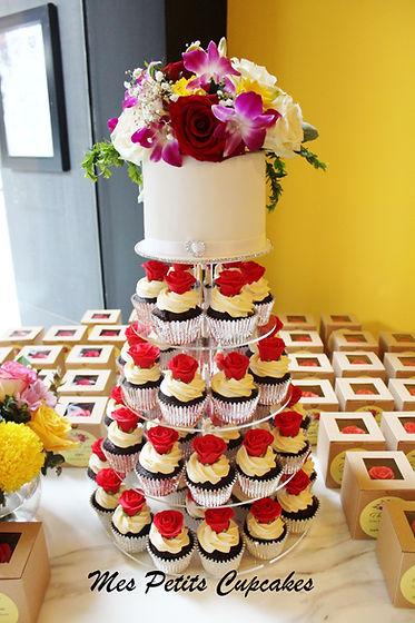 Cupcake - Wedding Cupcake Tower with Red