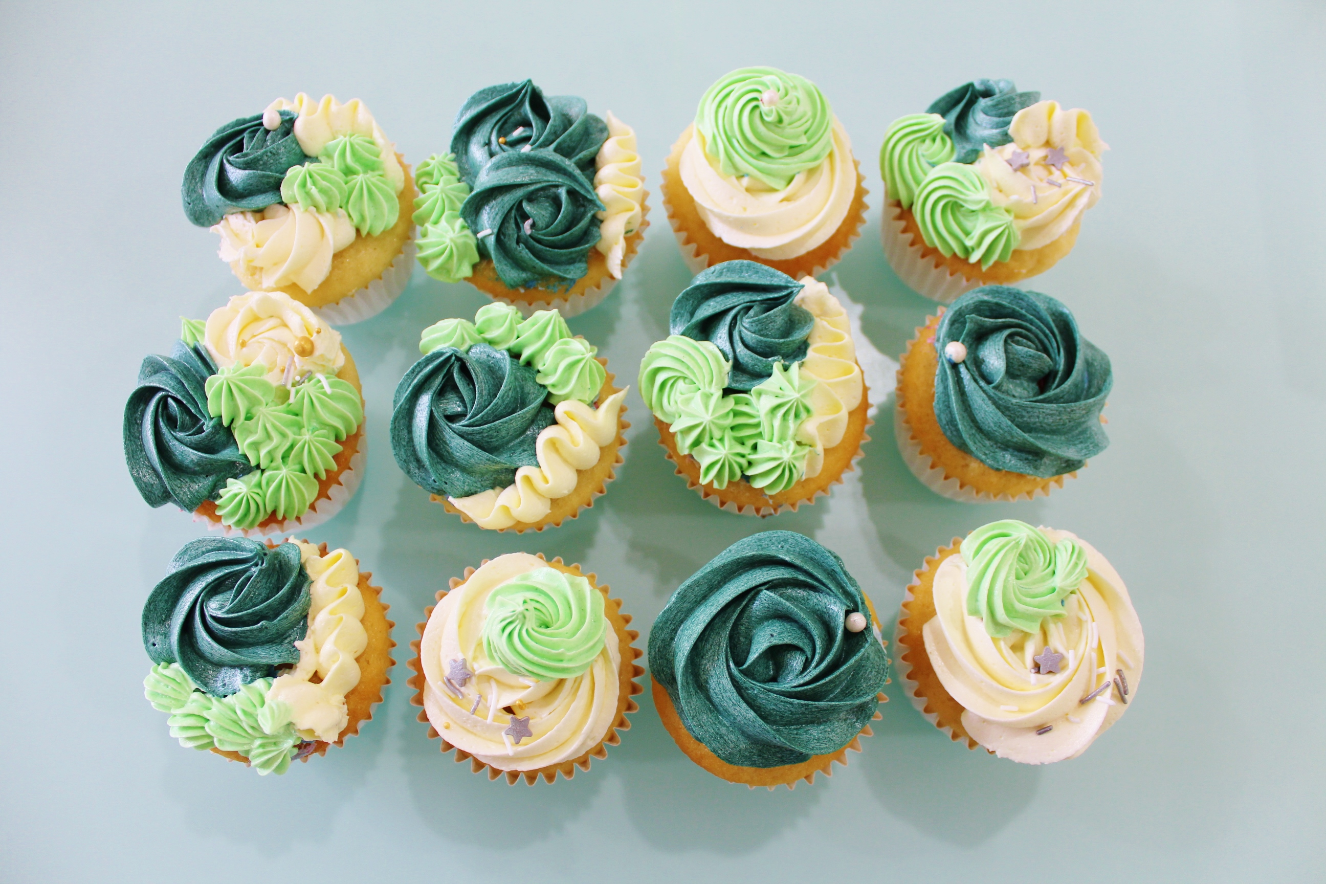 Cupcakes Floral - Green Emerald