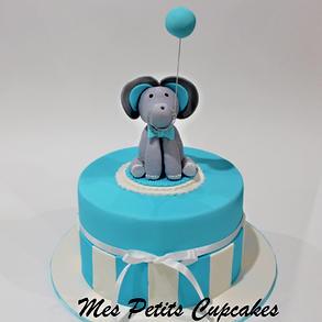 Baby Shower Cake - Blue White Stripes wi
