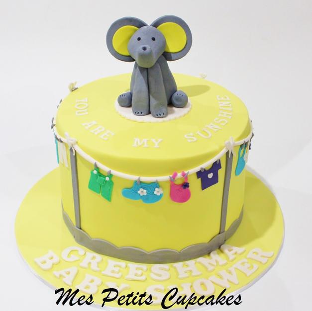 Baby Shower Cake - Elephant Yellow Baby
