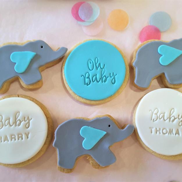 Cookies Baby Elephant Blue Custom Name