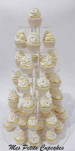 Cupcake - Wedding Cupcake Tower with White and Gold Flowers