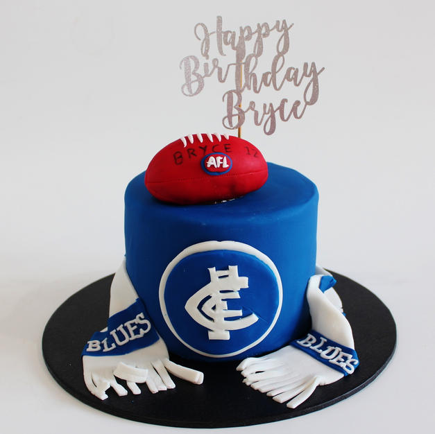 Carlton AFL The Blues Cake with Footy Ba