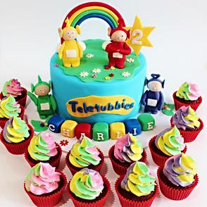 Teletubbies Cake with Rainbow Cupcakes.J